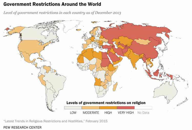 Map Of The Day Global Religious Restrictions Eats Shoots N Leaves