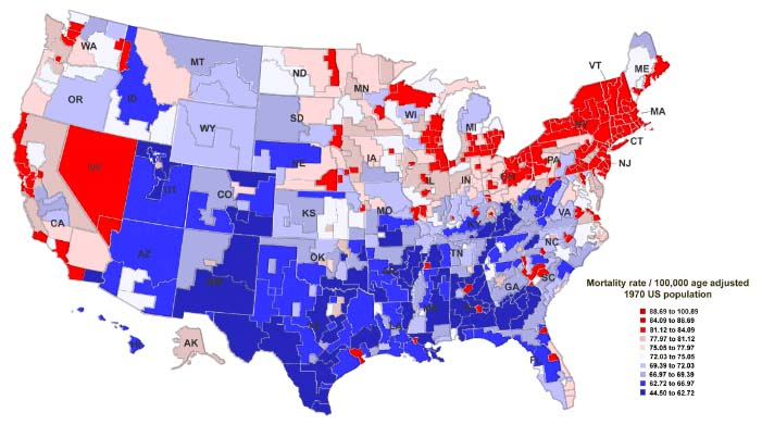 Map Of The Day US Breast Cancer Morality Rates Eats Shoots N - Us cancer rate map