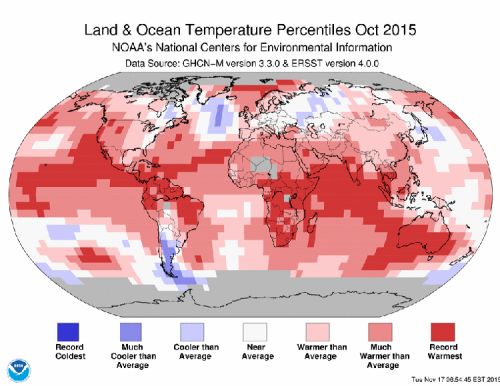 October 2015 Blended Land and Sea Surface Temperature Percentiles