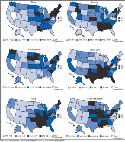 Age-adjusted rate* of invasive cancer by cancer site and jurisdiction — National Program of Cancer Registries and Surveillance, Epidemiology, and End Results Program, 50 States, the District of Columbia (DC), and Puerto Rico (PR), 2012