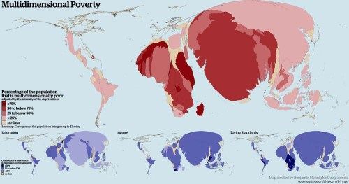 The map modifies the size of each country according to the total number of people there who live on up to $2 a day according to the most recent available estimates. In addition, the colour shading uses information from the 2015 Multidimensional Poverty Index (MPI) to highlight the percentage of the population that is multi-dimensionally poor. The MPI is part of the Human Development Index and covers 91 of the most disadvantaged countries with a total population of 1.5 billion. It takes into account that poverty is a multidimensional issue which cannot only be measured by monetary indicators. The cartogram therefore combines the monetary measure as a base for the distortion with a combination of further dimensions of poverty, such as deprivation in education, health and standard of living. The small series of cartograms below the main map dissects these dimensions of poverty by showing their contribution of deprivation in dimension to overall poverty shown on the same cartogram as the main map.