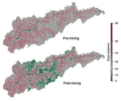 The hillside slope of West Virginia's Headwaters Twentymile Creek watershed pre- and post-mining, calculated from elevation maps. Images from http://www.minedwatersheds.com/. Photo credit: Photo courtesy of Matthew Ross, Duke University.