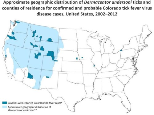 Colorado tick fever (CTF) occurs in people who live in or visit areas where there are infected Dermacentor andersoni ticks. These ticks are found in the western United States or western Canada at elevations of 4,000‒10,000 feet above sea level. In the United States, a total of 83 CTF cases were reported to CDC from 2002 through 2012. CTF is not a nationally notifiable disease; however, several states require that CTF cases be reported to the state health department. As of January 2015, CTF was specifically reportable in six states: Arizona, Colorado, Montana, Oregon, Utah, and Wyoming. All state health departments are encouraged to report CTF cases to CDC on a voluntary basis.