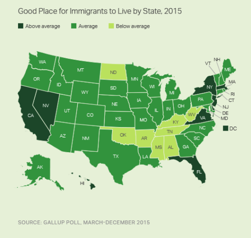 Immigrants By State Map.Map Of The Day Ii States Immigrant Tolerance Eats Shoots N Leaves