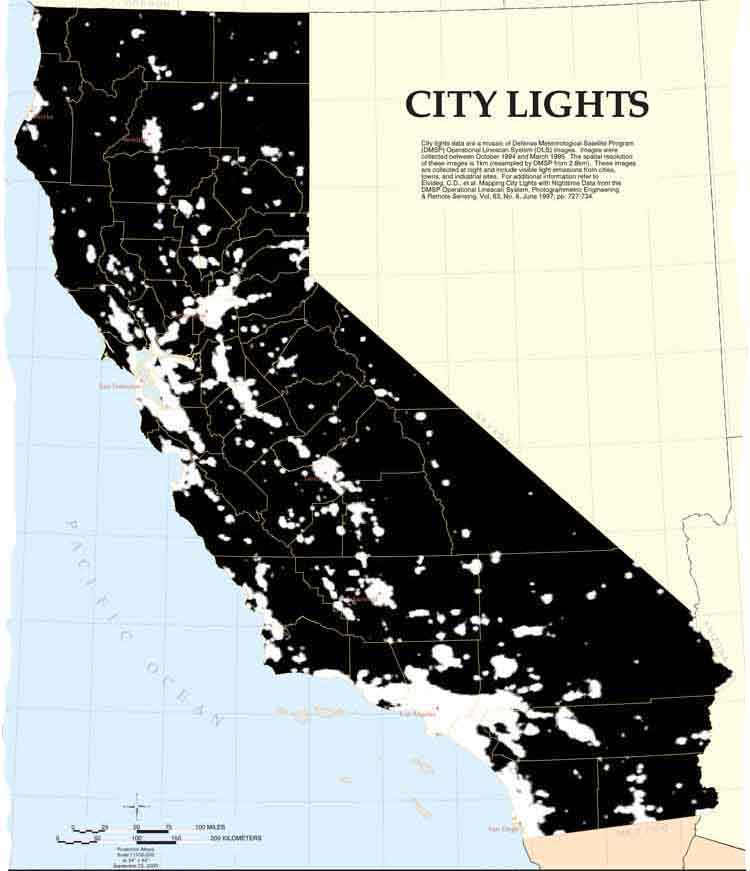 Map Of The Day: Light Pollution In California