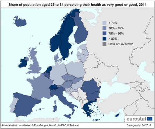 Of all persons aged 25 to 64 living in the European Union (EU), around three-quarters perceived their health status as very good or good, slightly fewer than 20% as fair and below 7% as bad or very bad. Being an important socio-economic factor, the education level has an influence on health status: while just over 60% of the EU population aged 25-64 with a low education level perceived their health as very good or good, this proportion hit 85% for those with a tertiary education level. This pattern is observed for all ages between 25 and 64.