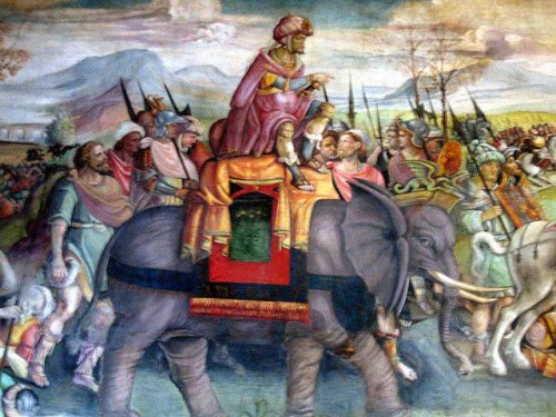 Hannibal's celebrated feat in crossing the Alps with war elephants passed into European legend: detail of a fresco by Jacopo Ripanda, ca. 1510, Capitoline Museums, Rome. Via Wikipedia.