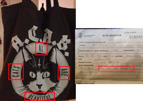 Belén Lobeto tweeted an image of the offending tote bag.