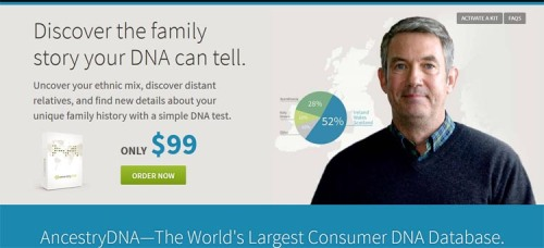 A screencap of thre webpage for one of the most popular consumer DNA testing companies, a firm that also sells consumer genealogical record programs..