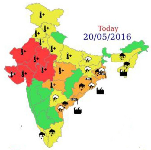 From the India Meteorological Department, a map of weather conditions, with residents of the regions marked in red urged to take immediate action to protect themselves from the killer heat.