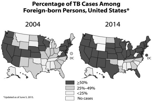 The percent-age range of the total number of TB cases that occurred in foreign-born persons in each state is highlighted for 2004 and 2014 in these side-by-side maps.  The number of states with less than 25% of their TB cases among the foreign-born decreased from 10 states in 2004 to 8 states in 2014. The number of states with at least 25-49% of cases among the foreign-born decreased from 18 states in 2004 to 6 states in 2014. However, the number of states that had 50% or more of their cases among the foreign-born increased from 24 states in 2004 to 37 states in 2014.
