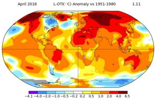 Global temperature anomalies in April compared to temperatures for the same month between 1951 and 1980 in degrees centigrade.