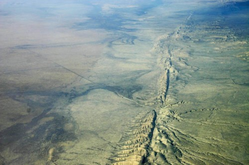This is an aerial view of the San Andreas Fault in the Carrizo Plain, 8,500 ft. altitude. From the University of Hawai'i at Mano.