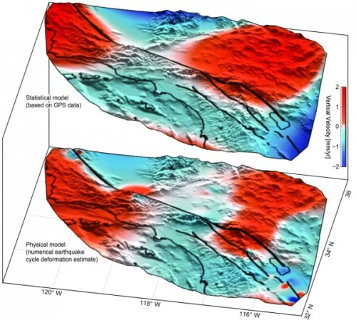 Uplift [red] and subsidence [blue] around the San Andreas Fault System based on GPS data [top] confirms motion predicted by previous models [bottom]. From the University of Hawai'i at Mano.