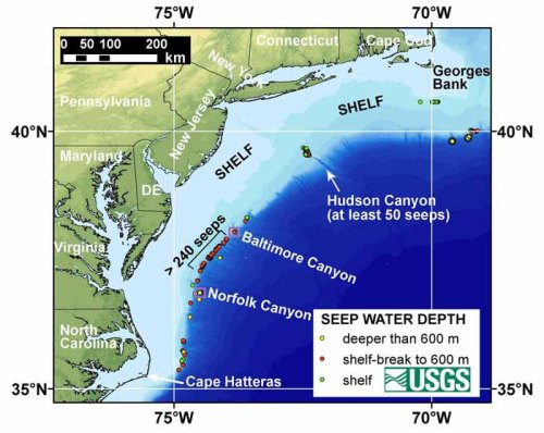 Northern U.S. Atlantic Margin map, showing major canyons that cut through the continental shelf. Boxes highlight the locations of Baltimore Canyon and Norfolk methane seep fields on the US Atlantic margin. These sites are the focus of a just-published 2016 study highlighting methane sources and the age of methane emissions. The yellow, red, and green circles denote methane seeps discovered earlier on the US Atlantic margin.