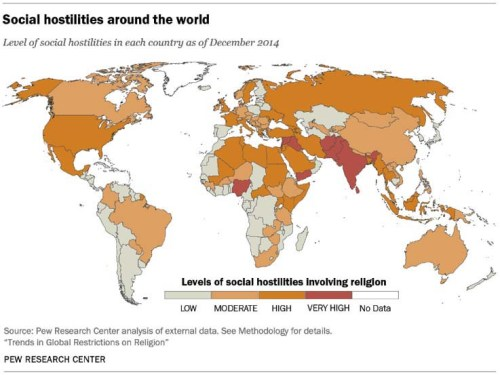 Map Of The Day II Global Religious Hostility Levels Eats Shoots - Religion map of world 2014