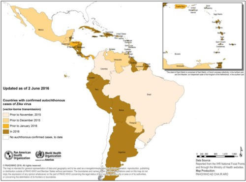 Countries and territories in the Americas with confirmed autochthonous (vector-borne) Zika virus cases, 2015-2016.