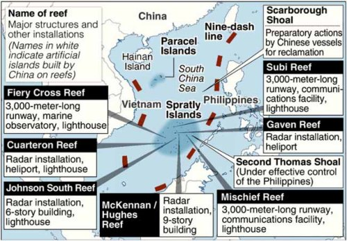 China's maritime claims and bases built or under construction by Bejing, via the Yomiuri Shimbun.