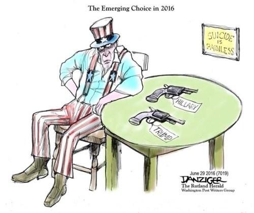 Uncle Sam, 2016 presidential race, Trump, Hillary, political cartoon