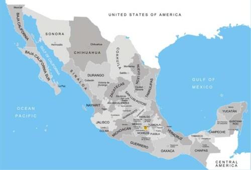 Mexico's administrative divisions [states], via Wikipedia.