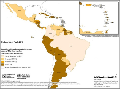 Countries and territories in the Americas with confirmed autochthonous [vector-borne] Zika virus cases, 2015-2016