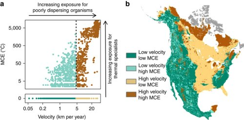 A map showing the impacts of the Minimum Cumulative Exposure [MCE] to climate change on species in different environments in North America. From Climate change velocity underestimates climate change exposure in mountainous regions, an open access article published in Nature Communications.
