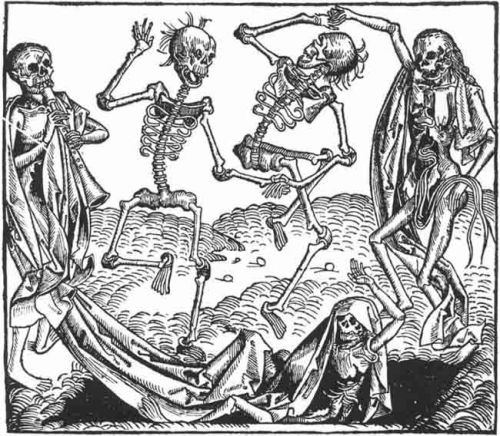 Danse macabre by Michael Wolgemut, teacher of Albrecht Dürer, from folio CCLXI recto of Hartman Schedel's Historia mundi, printed in Nuremberg in 1493.
