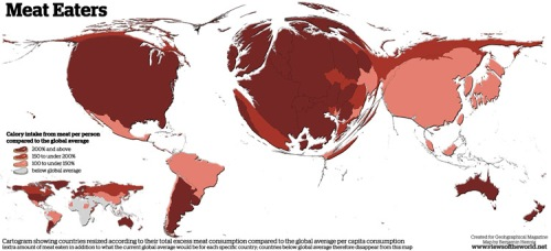 Cartogram showing countries resized according to their tgotal excess meat consumption compared to the global average per capita consumption. Countries with below average consumption don't appear.