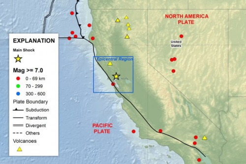 A map shows the location of the August 24, 2014 earthquake just south of Napa, California. In a new report, scientists from MIT and elsewhere detail how, even after the earthquake's main tremors and aftershocks died down, earth beneath the surface was still actively shifting and creeping — albeit much more slowly — for at least four weeks after the main event. Image: Gareth Funning/University of California, Riverside