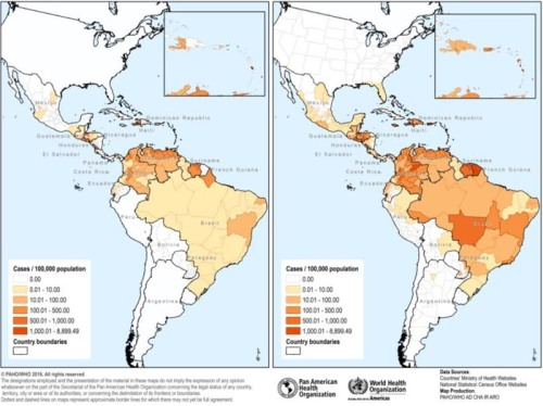 Cumulative incidence rates of suspected and confirmed Zika cases in countries and territories in the Americas, January 2016 and September 2016.