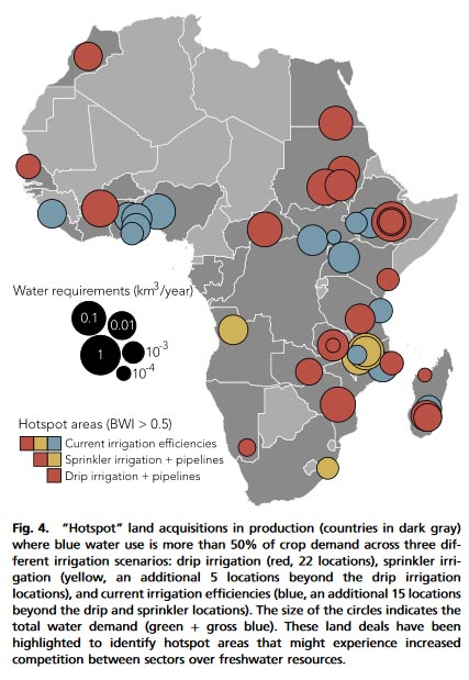 Regions of Africa where the relative availability of fresh water, as calculated by the Blue Water Index [BWI] threatens violence as the competition got fresh water between smallholders and giant foreign-owned farms intensifies.