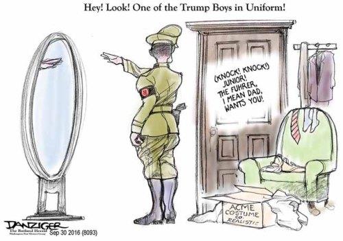 Donald Trump Junior, uniform, political cartoon