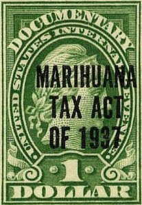 A federal marijuana tax stamp from the original 1937 issue, via Wikipedia.