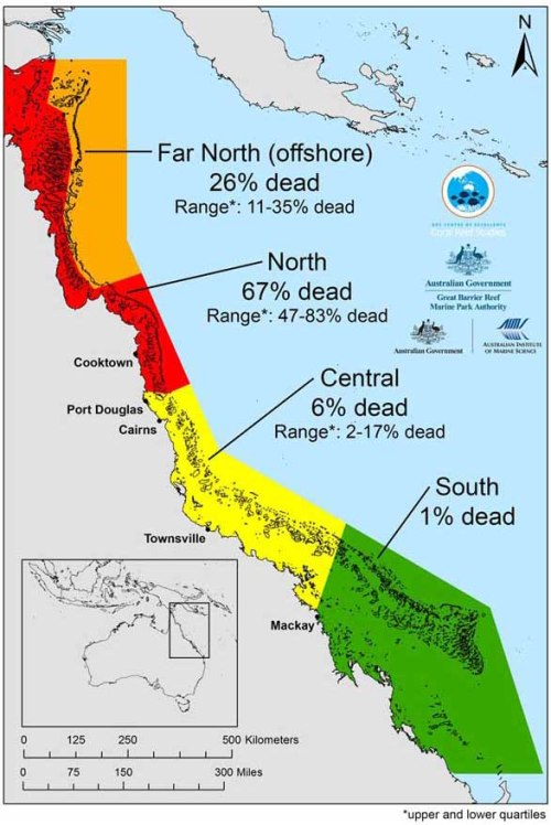 From the ARC, a map revealing the extent of this year's lethal damage to the Great Barrier Reef.
