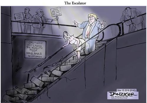 Trump, Escalator, Melania, political cartoon