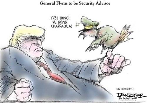 General Michael Flynn, national security advisor, bomb Chappaqua, political cartoon