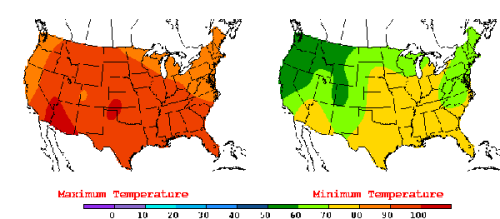 The United States has experienced unusual warmth lately, as indicated by this July 22, 2016, weather map showing much of the country facing highs in the 90s and 100s and lows in the 70s. New research indicates that more record high temperatures may be in store. (Weather map by the National Oceanic and Atmospheric Administration's Weather Prediction Center.)
