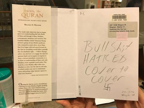From Evanston, Illinois, librarian Lorena Neal, a book vandalized in November.