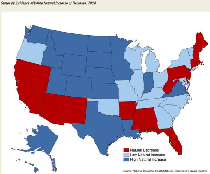 in 2014 deaths among non hispanic whites exceeded births in more states than at