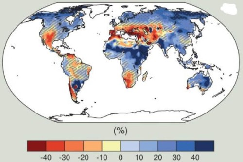 From the paper [open access], anticipated changes in runoff by the end of the 21st Century.