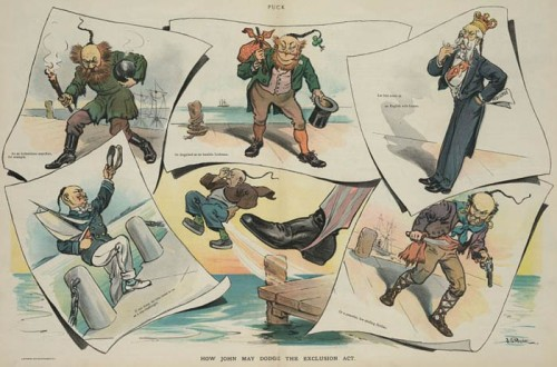Illustration, 'How John may dodge the exclusion act' shows Uncle Sam's boot kicking a Chinese immigrant off a dock. Library of Congress.