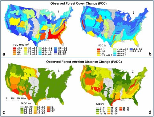 Loss of Forest Coverage [upper maps] and Changes in Average Distance from Nearest Forest [lower maps], 1991-2000  From Forest dynamics in the U.S. indicate disproportionate attrition in western forests, rural areas and public lands, a new study published in PLOS One [open access], maps indicate tghe decline in forest area [a] and percentage of change [b] and the average distance of an individual from the nearest forest [c] and the change in distance over the decade [d].